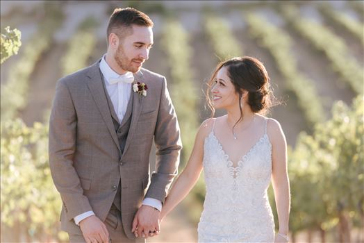 FW-6933.JPG - Tooth and Nail Winery elegant and formal wedding in Paso Robles California wine country by Mirror\u0027s Edge Photography, San Luis Obispo County Wedding Photographer. Bride and Groom walking through the vineyards in Paso Robles California wine country wedding