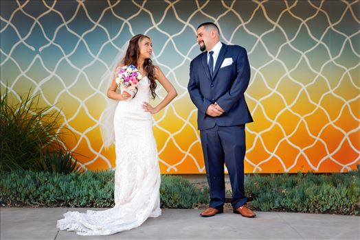 Kimpton Goodland Hotel Santa Barbara Goleta California Bride and Groom at Art Wall by Sarah Williams