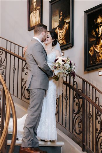 Edith and Kyle 051 - Mirror\u0027s Edge Photography captures Edith and Kyle\u0027s wedding at the Tooth and Nail Winery in Paso Robles California. First look on the staircase kiss.
