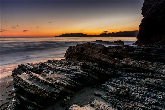 Avila in the Distance.jpg - Spyglass cliffs at sunset with Avila Beach in the distance
