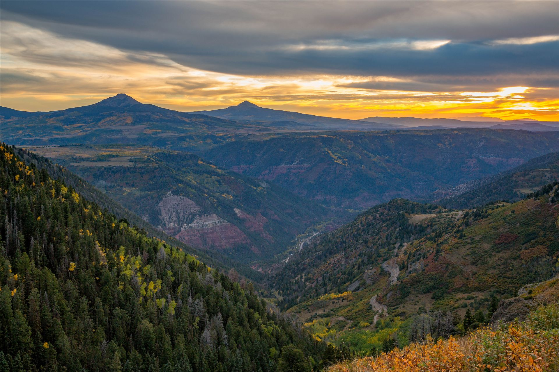Last Dollar Road Sunset 2 The sun has almost faded on a quiet, secluded spot from Last Dollar Road, outside of Telluride, Colorado in the fall. by Scott Smith Photos