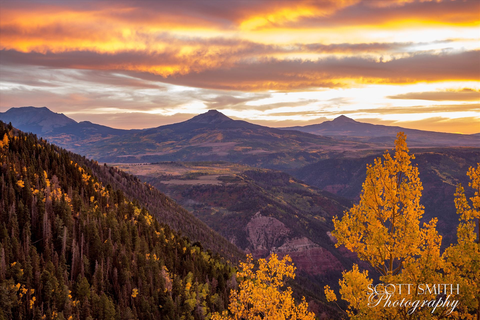 Last Dollar Road Sunset Sunset on a quiet, secluded spot from Last Dollar Road, outside of Telluride, Colorado in the fall. by Scott Smith Photos