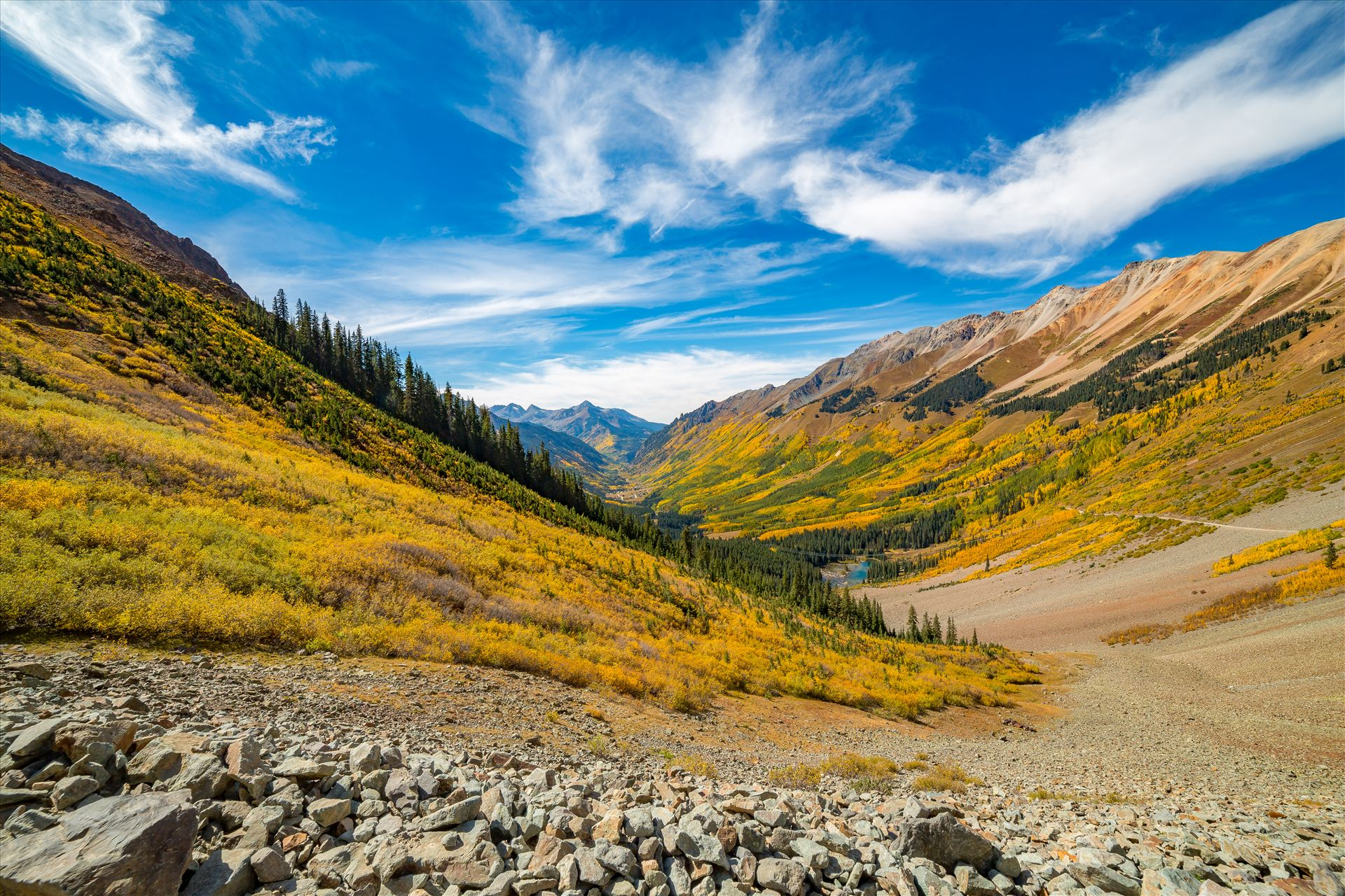 Rocky Ophir Pass Looking towards the mining town of Ophir, Rubble from the slowly eroding mountains make up most of the terrain on Ophir Pass,. by Scott Smith Photos