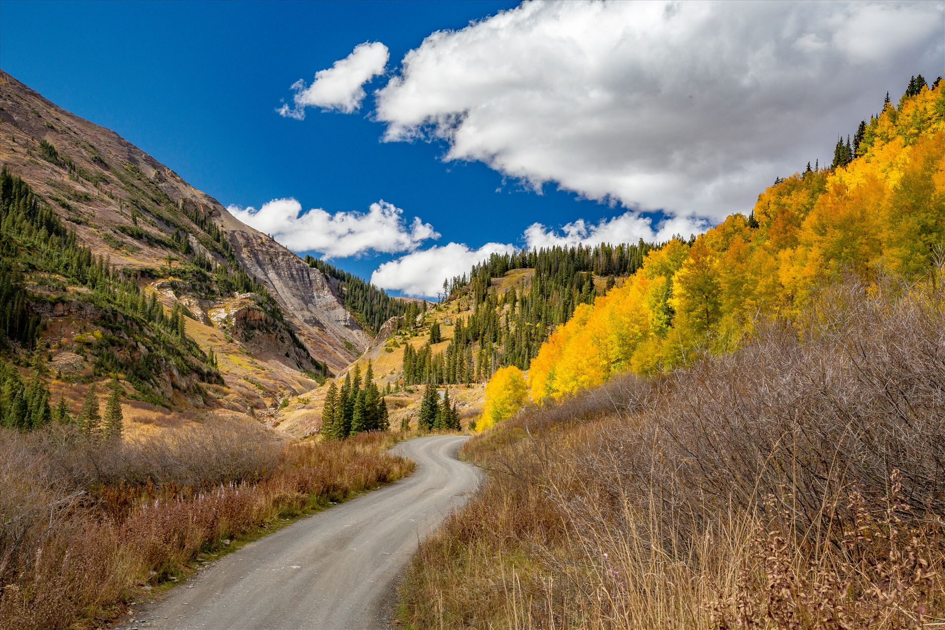 Schofield Pass Fall colors and bluebird skies Just before Emerald Lake on Schofield Pass, near Crested Butte, Colorado. by Scott Smith Photos