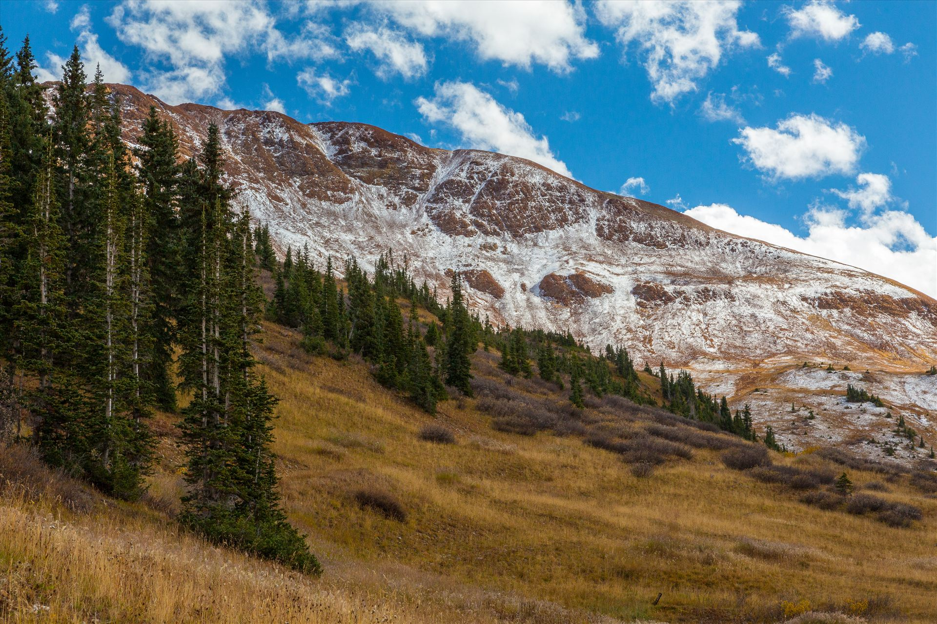 Snow at Mount Baldy Wilderness Snow on the peaks at the Mount Baldy Wilderness area, near the summit. Taken from Schofield Pass in Crested Butte, Colorado. by Scott Smith Photos