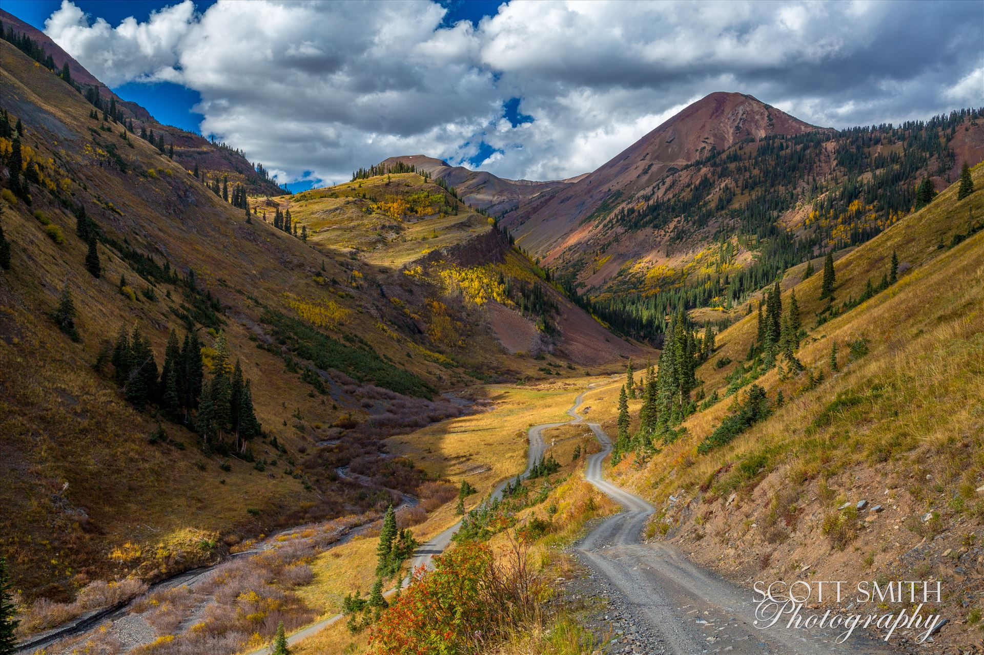 Mount Baldy from Washington Gulch Mount Baldy, the reddish colored mountain the background, from Washington Gulch. Just outside of Crested Butte, Colorado on Schofield Pass. by Scott Smith Photos