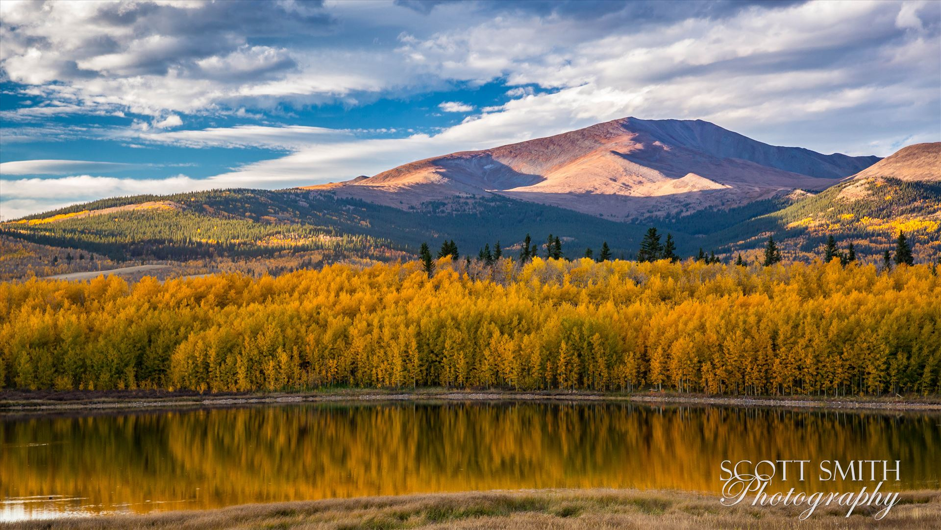 Reflecting Colorado Gold A small lake between South Park and Fairplay, Colorado reflects the fall aspens as the sun sets on a beautiful weekend. by Scott Smith Photos
