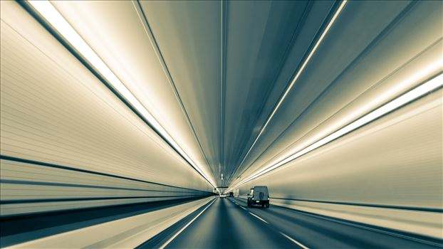 Converging Lines in Eisenhower Tunnel (Black and White Version) by Scott Smith Photos