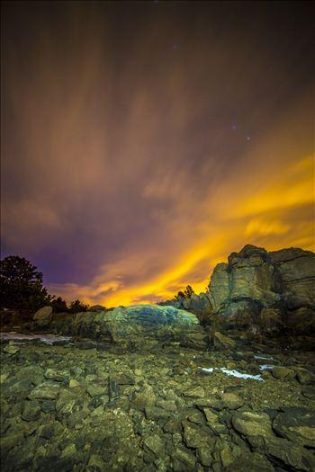 Night Sky on Fire at Mary's Lake by Scott Smith Photos