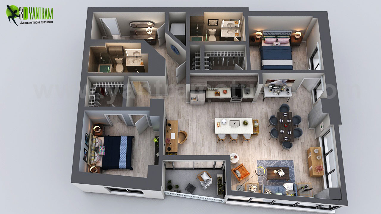 residential-apartment-3d-floor-plan-rendering-ideas-bedroom-bathroom-kitchen-unit-tower-design.jpg Unique Residential Apartment 3D Floor Plan Rendering, Modern Bedroom with Wooden Furniture & pendant Light, Current Trending Living Room with Study & Dining table looking Fabulous - Ideas by Yantram 3D Floor Plan, San Diego - USA by yantramstudio
