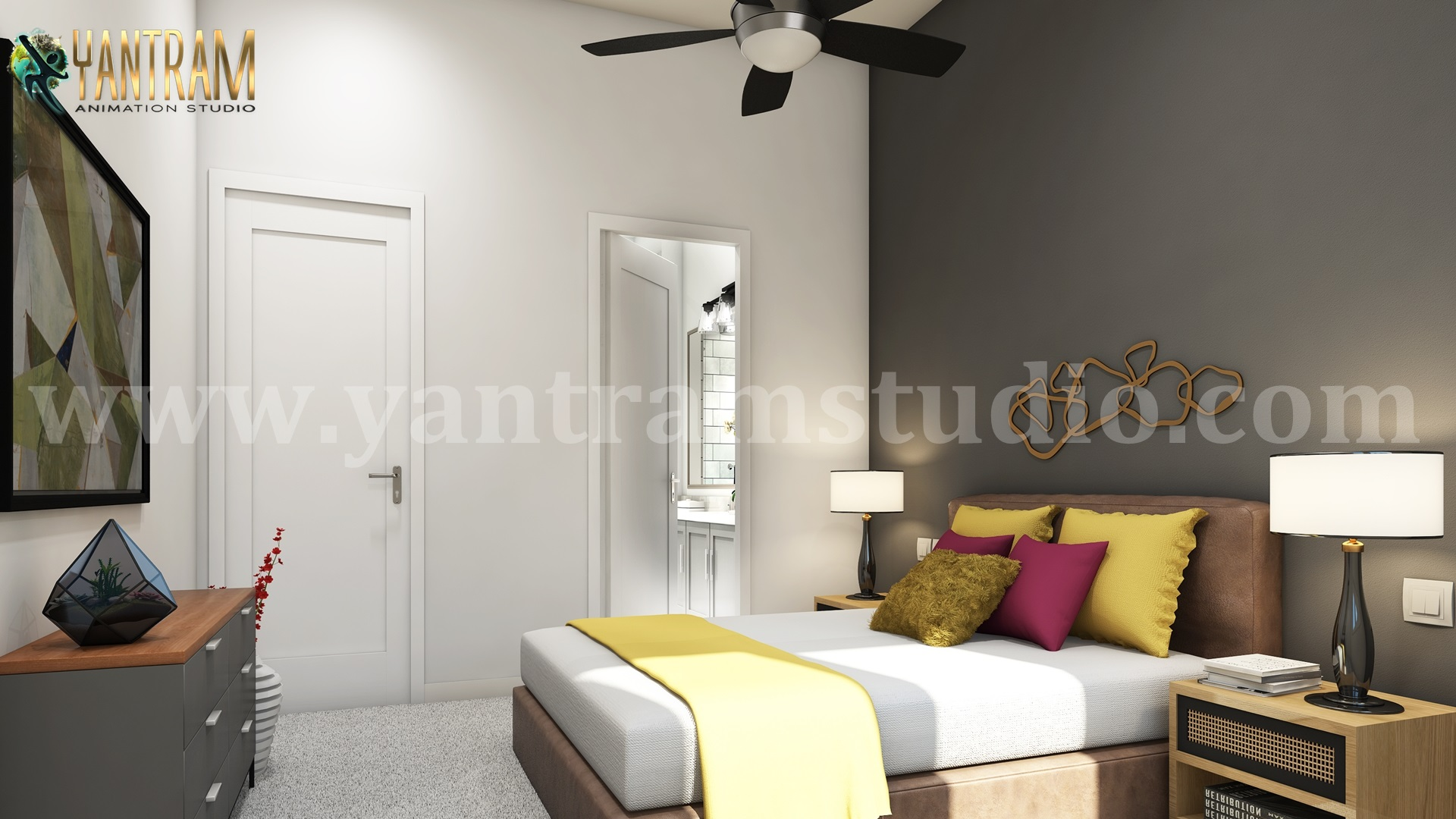 Contemporary Master Bedroom 3d interior rendering services by 3d architectural visualization.jpg  by yantramstudio