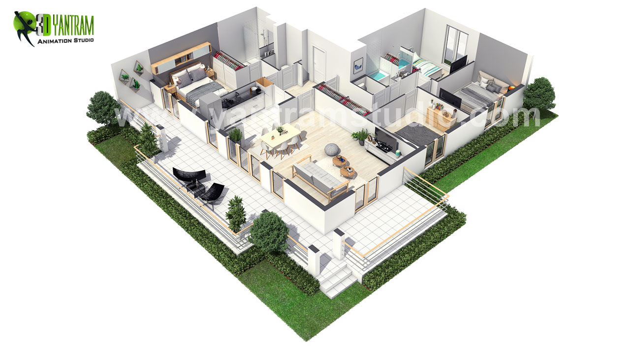 European-3D-Home-Floor-Plan-Design.jpg European 3D Home Floor Plan Design ideas by Yantram 3D Virtual Floor Plan Design, Paris - France by yantramstudio