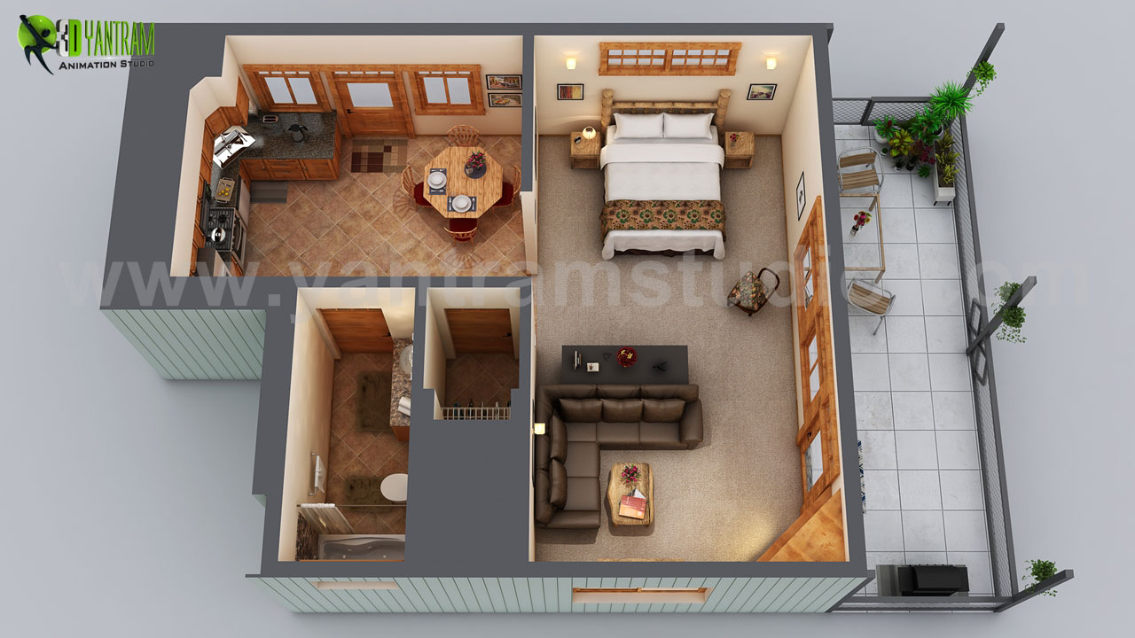 Serenity-Suite.jpg Small House Floor Plan Design Ideas with Bedroom & Modern hall with Wooden Furniture Blueprint by Yantram Floor Plan Designer.Unique ideas for small wooden house where each thing is specifically designed and placed keeping in mind space of house. by yantramstudio