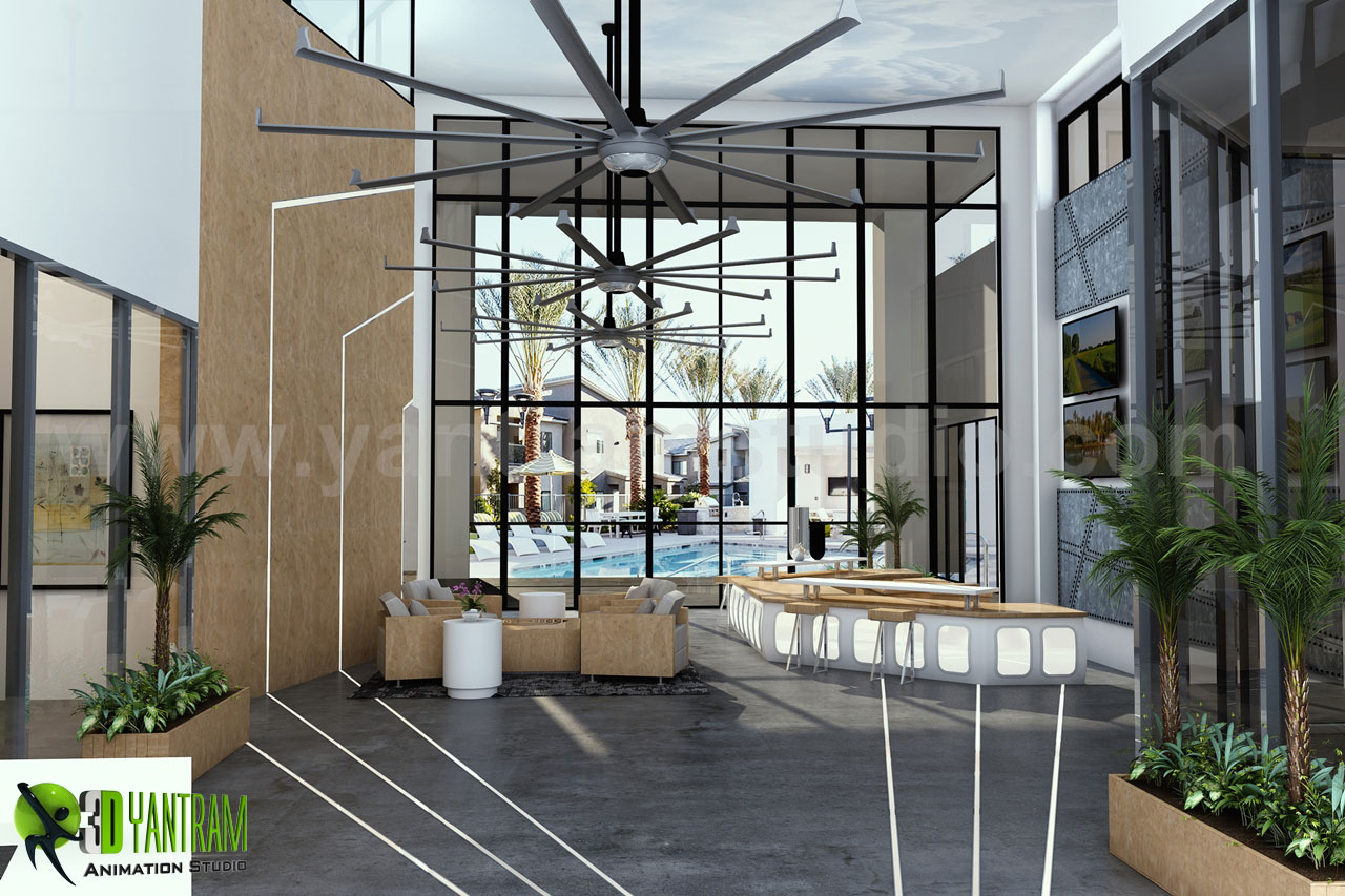 Aviator-Club-House_HD.jpg This is the Interior Reception Lobby View with Sunrise, Dashing Entrance gate with Modern Facilities, sitting space are available for Wait, Front of Entrance gate we can see a Pool Ideas by Yantaram Architectural Visualisation Studio. by yantramstudio
