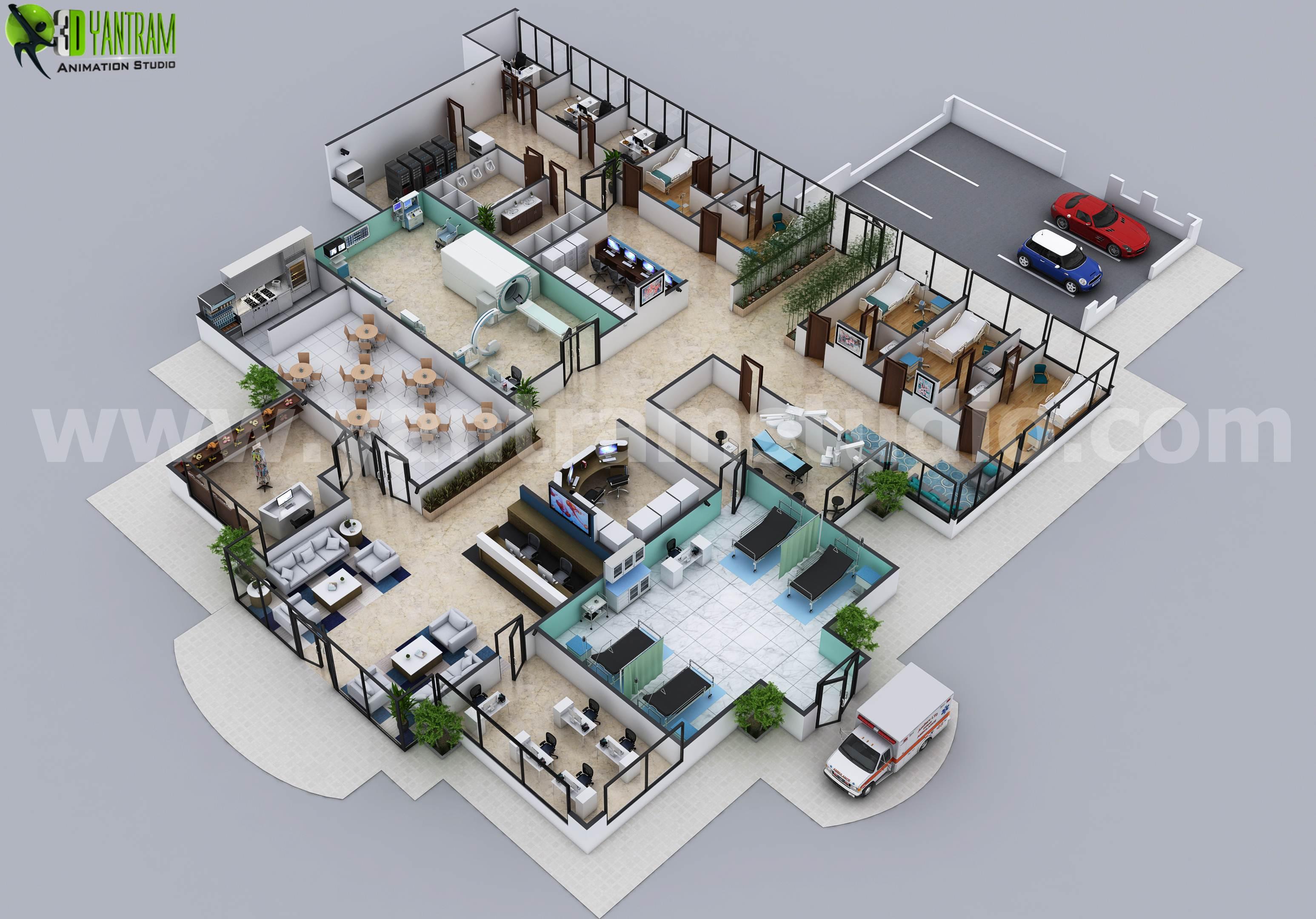 3d hospital floor plan layout design by yantram 3d floor plan software chicago usa hospital