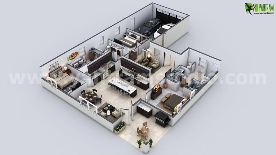 Architecture 3D Floor Plan Design By Yantramstudio | Village.