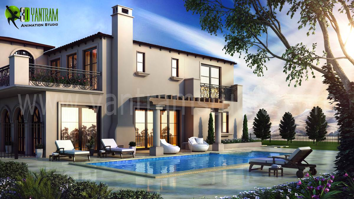 3D Exterior Modeling Pool View We have Expert Artist in 3D Exterior Modeling Pool View, Architectural design studio, 3D Architectural Design, Architectural Visualization Studio. by yantramstudio