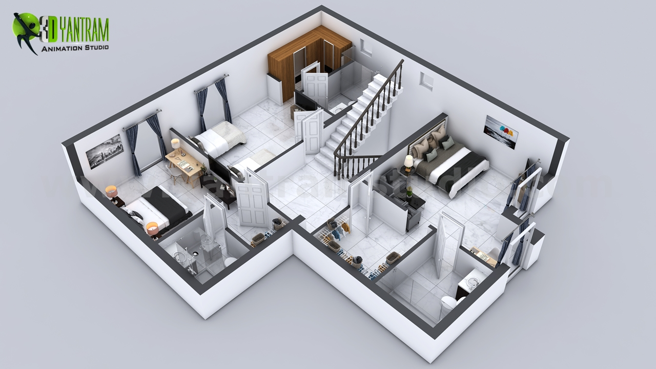 First floor plan designer Every house had different plan and elevation but the way of presentation makes it understandable and unique, A floor plan with landscape and different floor layout makes it more beautiful and perfect for presentation. by yantramstudio