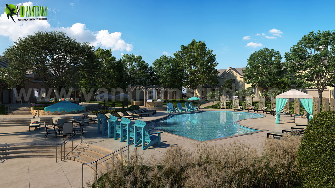 3d-residential-exterior-pool-view-rendering-design-ideas-provider-developer-modern-furniture.jpg Project 142: Modern Exterior Pool view Client: 929. Tracy Location: New York - USA  Exterior Pool View Rendering Services, pool view with modern furniture design & natural trees, landscaping & lighting looks very beautiful - developed by Yantram Archi by yantramstudio