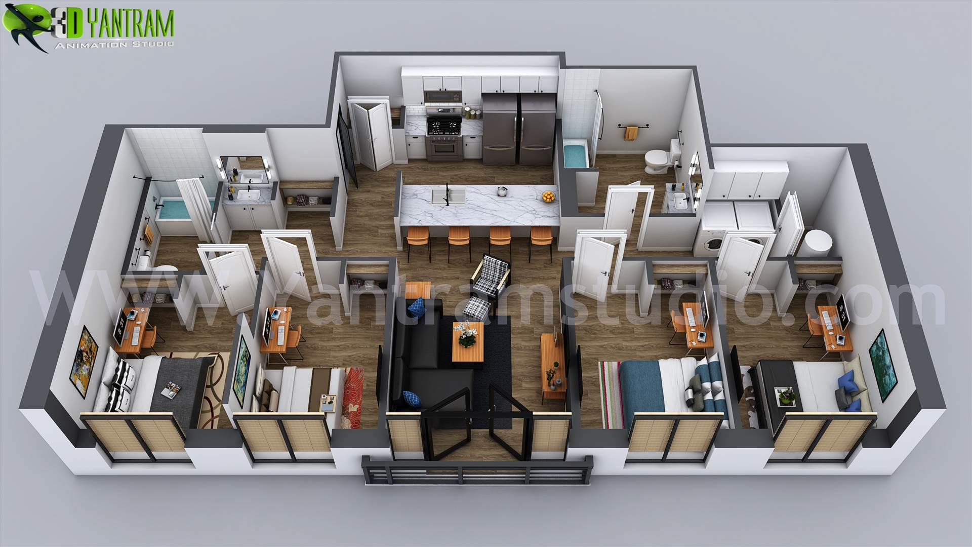 3D Home Floor Plan Designs By Yantram floor plan designer - Washington, USA Floor plans are usually drawn to show exact property area and room types. some are come along with appliances and furniture for the better idea about placement and space utilization. Read MOre -- https://goo.gl/6fYD3K  #Modern #3D #floorplan #design #i by yantramstudio