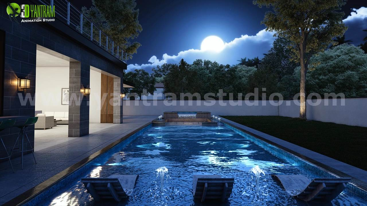 1-3d-exterior-walkthrough-home-design-with-pool-view-developed-architectural-animation-studio.png Project 160: Creative Home Walkthrough Animation Design Client: 861. Amr Location: California - USA  Incredible 3D Interior & Exterior Walkthrough Home Design, Ultra modern 3d exterior home modeling in night view with pool view rendering, 3d architect by yantramstudio