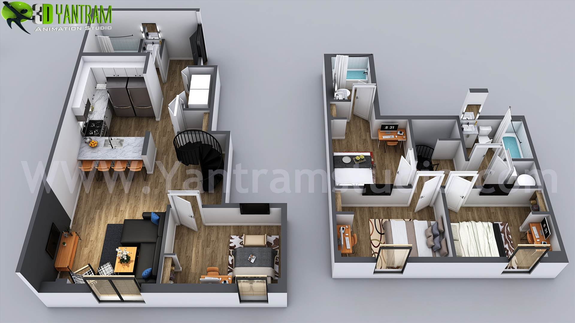 3D Home Floor Plan Designs By Yantram floor plan designer - Washington, USA Floor plans are usually drawn to show exact property area and room types. some are come along with appliances and furniture for the better idea about placement and space utilization.