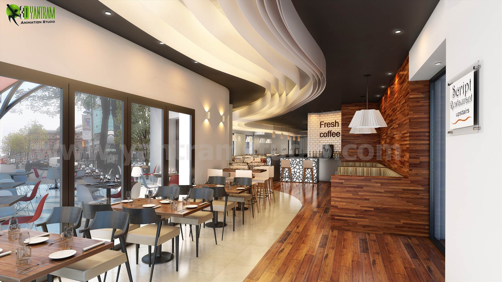 bar 3d interior rendering services manchester by