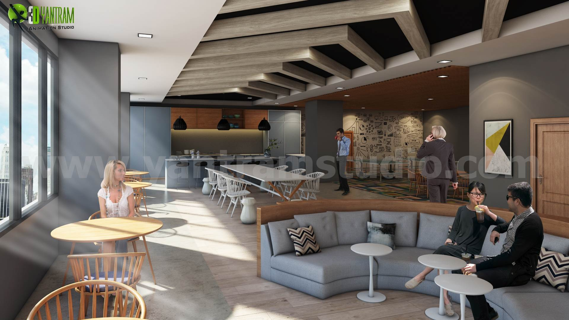 Creative ideas for Office Interior Design by Yantram 3d interior designers Commercial Modern Interior Office Design Ideas for your commercial office. 3 Renders includes all different ares with decent furniture like Waiting area, Refresh Bar, Kitchen, dining area.  by yantramstudio