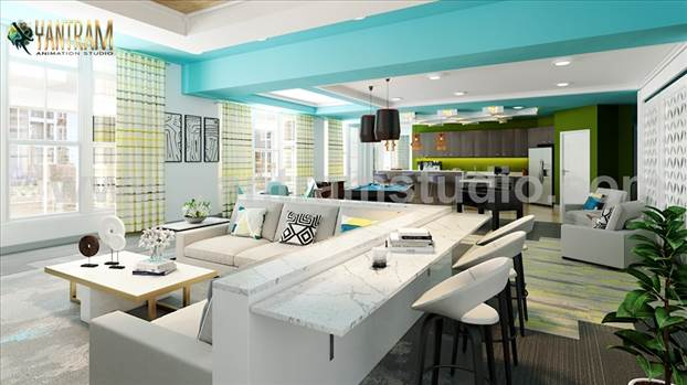 Project 857:- Clubhouse sitting area including pool table with kitchen 3D interior modeling