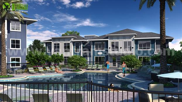 Pool View Courtyard Exterior House Modern Design Ideas.jpg by yantramstudio