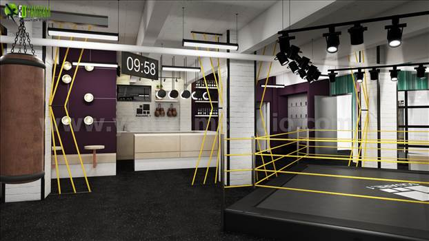 3D Interior GYM Rendering Design Boston by yantramstudio
