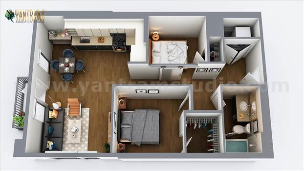 Two Bedroom Residential House  3D Virtual Floor Plan Design by Architectural Rendering Companies, Vegas - USA.jpg by yantramstudio