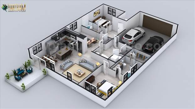 Project 181:- 3D Floor Plan for Residential house with garage slot