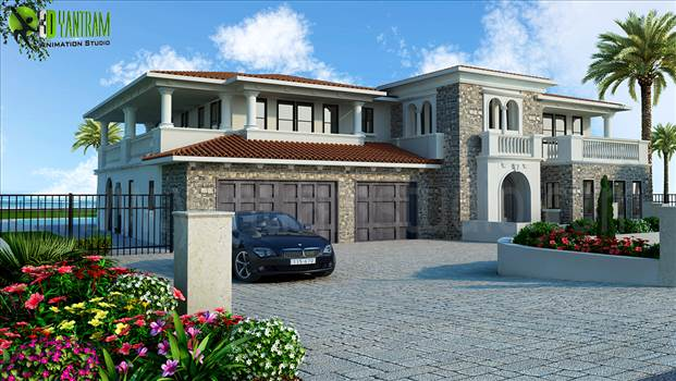 Luxurious Home Exterior Design Rendering by yantramstudio