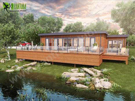 Lodge Architectural Rendering with Natural Landscape & Pond – Creative ideas by yantramstudio