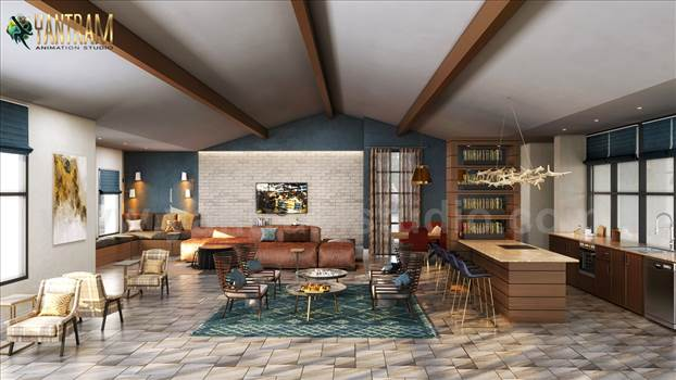 Project 176:- Clubhouse rendering 3D Interior Modeling Ideas