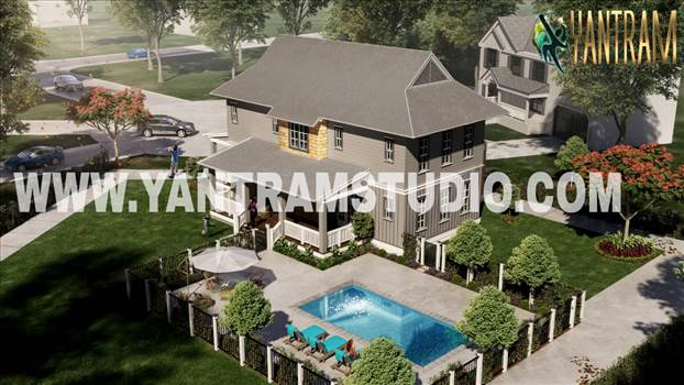 exterior rendering service of bungalow with pool area.jpeg by yantramstudio