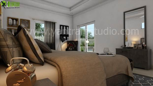 Modern 3D Interior Bedroom View by yantramstudio