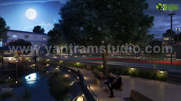 01-night-view-rendering-community-apartment-pond-design-walk-way-ideas-3d.jpg by yantramstudio