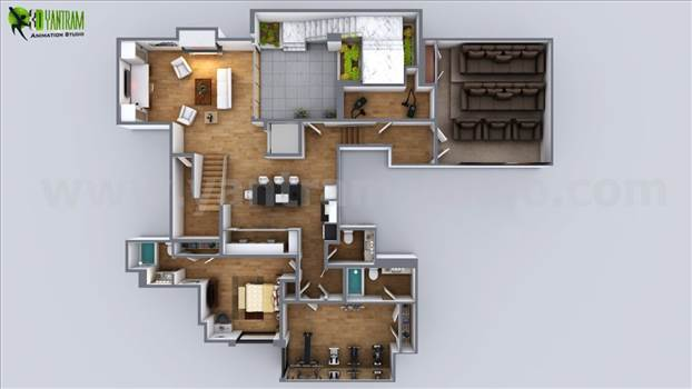Collection of modern ideas for Residential Floor plan and Exterior House renderings, See at all areas of floor plan and exterior, how detailed they are! From this you can get ideas to decorate your interior and exterior of your home in better way.