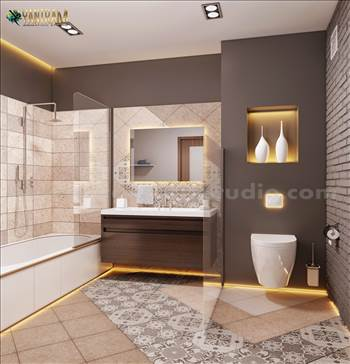 Contemporary Bathroom Decor Style Interior Design for Home by Architectural Animation Services, Qatar - Doha001.jpg by yantramstudio