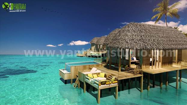 Fully conceptual Sea Cottages view rendering at beach side 3D Yantram Architectural Visualization Companies, It covers 3 cottages in perspective view with background of Designed palm trees is main beauty of the render and most important day lighting.