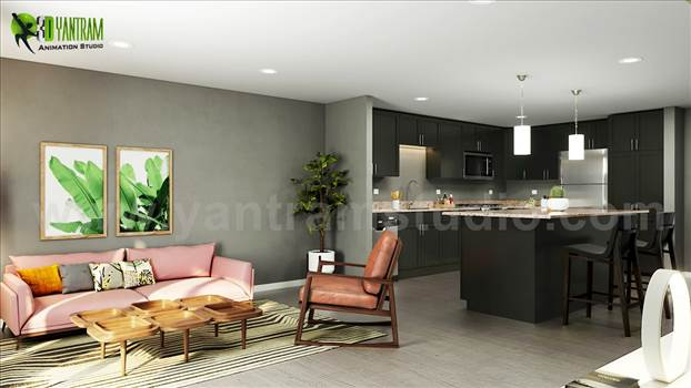 Open concept kitchen living room 3d interior rendering ideas, Space-saving tricks to combine kitchen and living room into a functional gathering place — perfect for work, rest and play, Open concept kitchen with island, wooden flooring, beautiful pendant