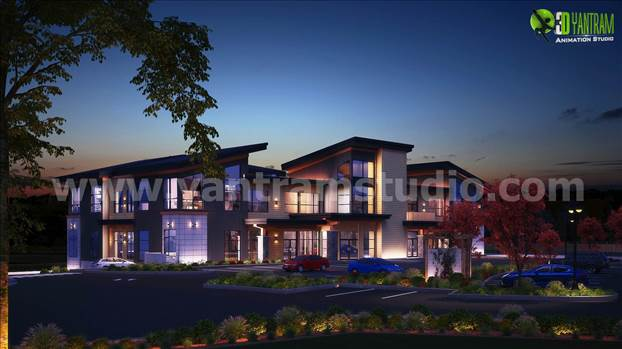 Creative office 3d exterior rendering services Night View by yantramstudio
