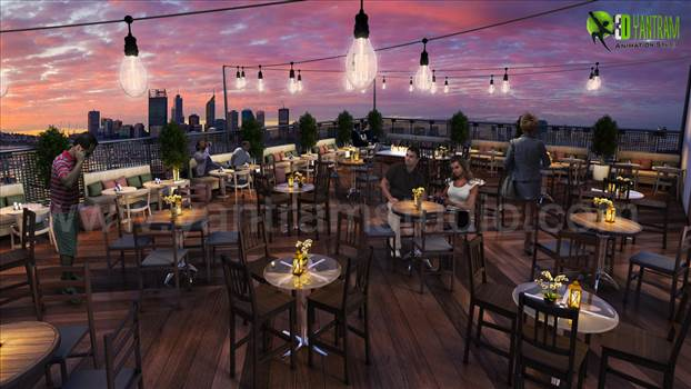 Rooftop Layout Lounge 3D Rendering Evening View Paris by yantramstudio