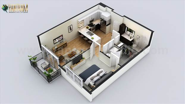 Project 501:- Small Residential Apartment 3D Floor Plan Design Ideas