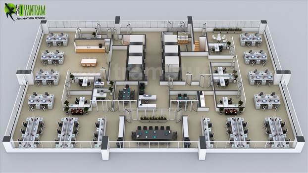 3D Floor Plans of the Sets for The Office New york, USA by yantramstudio