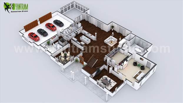 Project 144: Beautiful Modern 3D Home Virtual Floor Plan  Client: 724. Craign  Location: London - UK   Beautiful Modern 3D Home Virtual Floor Plan, Stunning Large 3D Floor Plan Design with Large Car Parking Area, Large Kitchen with Island.