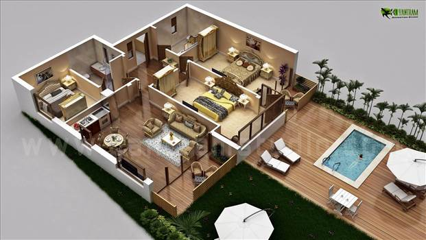Traditional Residential House 3D Floor Plan Design with Swimming Pool Concept by Architectural Rendering Company, Sydney - Australia.jpg by yantramstudio