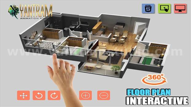 Project 758:- Interactive Residential House 3d Virtual floor plan design